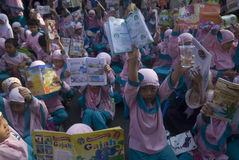 INDONESIA CHILDREN MALNUTRITION PROBLEM. Children attend World Book Day campaign in Solo, Java, Indonesia. Nutritional problems in Indonesia is still a cause for Royalty Free Stock Photo