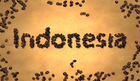 Indonesia Coffee Bean on Old Paper Stock Photos