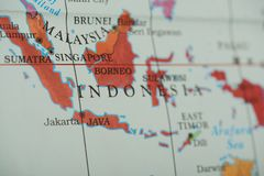 Indonesia country on paper map. Close up view stock image