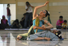INDONESIA CREATIVE JOBS. Choreographer-dancer Jasmine Okubo (rear) and NK Diah Kristine Natalia (front) perform a dance from Bali entitled GAK PD AH AH in Solo Royalty Free Stock Photography