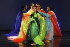 INDONESIA CREATIVE JOBS. Dance Fashion dance performance by choreographer Andi Imrah Dewi at Solo, Java, Indonesia. Indonesian business communities urged the Royalty Free Stock Images