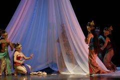 INDONESIA CREATIVE JOBS. Javanese Macbeth dance performance at Solo, Java, Indonesia. Indonesian business communities urged the government to immediately impose Royalty Free Stock Photo