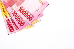Indonesia 100000 rupiah. Indonesia currency rupiah money 100000 isolated on white background Royalty Free Stock Photos