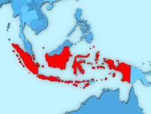 Indonesia on 3D map. Country of Indonesia highlighted in red on blue map. 3D illustration Royalty Free Stock Photos