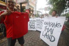 Indonesia debajo del partidario de 19 fútboles Fotografía de archivo libre de regalías