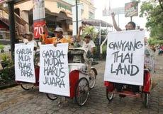 Indonesia debajo del partidario de 19 fútboles Imagen de archivo libre de regalías
