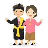 Indonesia East Javanese Traditional Dress Vector. Indonesian children wearing Jawa Timur, East Javanese traditional dress cartoon vector stock illustration