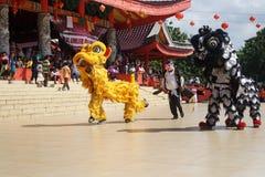 indonesia El funcionamiento de Dragon Dance durante la celebración china del Año Nuevo Imagenes de archivo
