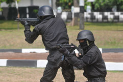 Indonesia Elite Army. Special Forces military personnel demonstrate the ability to attack and immobilize the enemy at their headquarters in Sukoharjo, Indonesia Stock Image