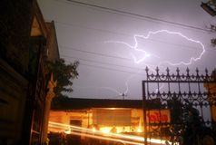 INDONESIA FACES NATURAL DISASTER SEASON. A lightning in the sky of Solo, Java, Indonesia. The Indonesian Disaster Prevention Body (BNPB) predicts that Indonesia royalty free stock images
