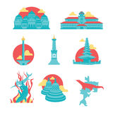 Indonesia Famous Landmark Icons. Set of Indonesia famous landmark in flat icons , including Baiturrahman Mosque from Aceh, Gedung Sate (Satay Building) from Royalty Free Stock Photography