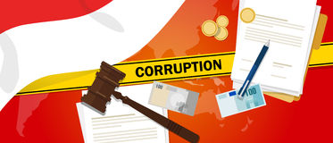 Indonesia fights corruption money bribery financial law contract police line for a case scandal government official. Vector Royalty Free Stock Image