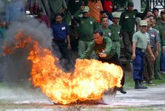 INDONESIA FIRE FIGHTING TRAINING Royalty Free Stock Photos