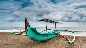 Indonesia Fishing Boat Bali Beach Timelapse 4k. Timelapse of a indonesia fishing boat at the beach on Bali, Indonesia stock video