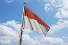 Indonesia Flag with Clouds Stock Photography