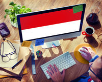 Indonesia Flag Country Nationality Liberty Concept.  Royalty Free Stock Photography