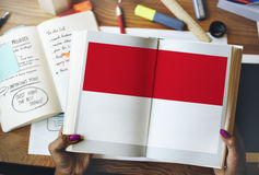 Indonesia Flag Country Nationality Liberty Concept Stock Photo
