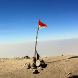 Indonesia Flag in Semeru Stock Photography