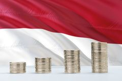 Free Indonesia Flag Waving In The Background With Rows Of Coins For Finance And Business Concept. Saving Money Stock Image - 147949381