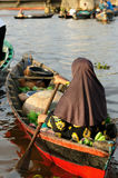 Indonesia - floating market in Banjarmasin. For seller on the floating market near the Banjarmasin city on the Martapura river. Indonesia, Borneo stock image