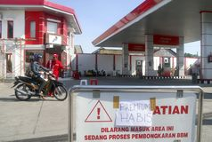 INDONESIA FUEL PRICE ANOTHER RAISE. An out of stock gas station in Solo, Java, Indonesia. The Indonesian government silently raise widely used low octane fuel Royalty Free Stock Photo