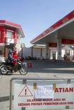 INDONESIA FUEL PRICE ANOTHER RAISE. An out of stock gas station in Solo, Java, Indonesia. The Indonesian government silently raise widely used low octane fuel Royalty Free Stock Images