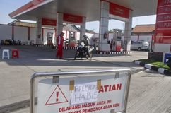 INDONESIA FUEL PRICE ANOTHER RAISE. An out of stock gas station in Solo, Java, Indonesia. The Indonesian government silently raise widely used low octane fuel Stock Photography