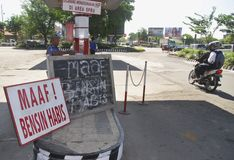 INDONESIA FUEL PRICE ANOTHER RAISE. An out of stock gas station in Solo, Java, Indonesia. The Indonesian government silently raise widely used low octane fuel Royalty Free Stock Image