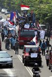 INDONESIA FUEL PRICE ANOTHER RAISE. A protest against rising fuel price in Solo, Java, Indonesia. The Indonesian government silently raise widely used low octane Royalty Free Stock Photo