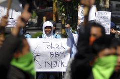 INDONESIA FUEL PRICE ANOTHER RAISE. A protest against rising fuel price in Solo, Java, Indonesia. The Indonesian government silently raise widely used low octane Royalty Free Stock Photos