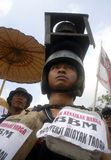INDONESIA FUEL PRICE ANOTHER RAISE. A protest against rising fuel price in Solo, Java, Indonesia. The Indonesian government silently raise widely used low octane Stock Images