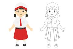 Indonesian Student Coloring Page Vector Template. Indonesia girl student wearing elementary school uniform. Coloring page for kids cartoon vector stock illustration