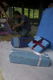 INDONESIA GLOBAL OIL PRICES HIT ECONOMY. People produce wedding souvenirs made from recycled paper, in Solo, Java, Indonesia. The Southeast Asia's largest stock image