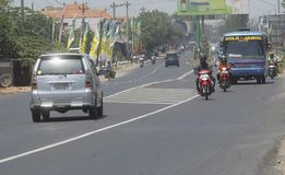 INDONESIA GLOBAL OIL PRICES HIT ECONOMY. Traffic in Solo, Java, Indonesia. The Southeast Asia's largest economy has been hit by weak global oil and commodities royalty free stock photography