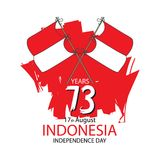Indonesia Happy Independence Day, 17 august celebration card with Indonesian flag Stock Photo
