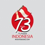 Indonesia Happy Independence Day, 17 august celebration card with Indonesian flag Stock Photos