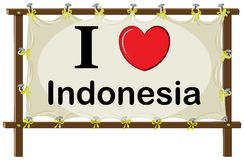 Indonesia. I love Indonesia sign in wooden frame Royalty Free Stock Image