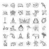 Indonesia icons set. Attractions, line design. Tourism in Indonesia, isolated vector illustration. Traditional symbols. Outline black icons set in thin modern royalty free illustration