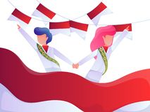 Indonesia Independance Day colorful vector illustration with people in national costumes. Indonesia Independence Day colorful vector illustration with people in stock illustration
