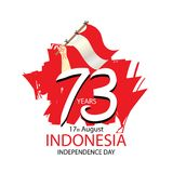 Indonesia  Independence Day, 17 august celebration card with Indonesian flag Royalty Free Stock Photo