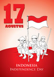 Indonesia Independence Day. An Illustration of Indonesian soldiers fight for Independence Stock Image