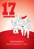 Indonesia Independence Day. An Illustration of Indonesian soldiers fight for Independence Stock Photography
