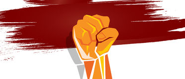 Indonesia independence hand fist in with flag concept illustration of nationalism patriotism. Vector Stock Images