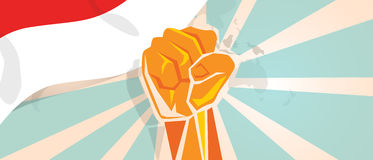 Indonesia Indonesian fight and protest independence struggle rebellion show symbolic strength with hand fist. Illustration and flag vector royalty free illustration