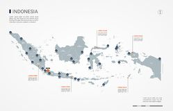 Indonesia infographic map vector illustration. Indonesia map with borders, cities, capital and administrative divisions. Infographic vector map. Editable layers vector illustration
