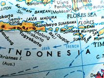 Indonesia Islands focus macro shot on globe map for travel blogs, social media, website banners and backgrounds. Indonesia Islands focus macro shot on globe map royalty free stock images