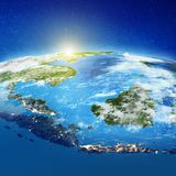 Indonesia islands from space. Elements of this image furnished by NASA. 3d rendering royalty free illustration