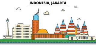 Indonesia, Jakarta. City skyline architecture . Editable. Indonesia, Jakarta. City skyline architecture, buildings, streets, silhouette, landscape, panorama stock illustration