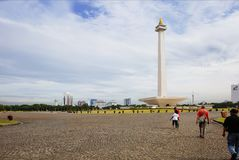 Indonesia. Jakarta. The national monument Monas. The national monument or Monas is a 137-meter high tower in Central Jakarta symbolizing the fight for Indonesia` royalty free stock photos