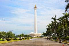 Indonesia. Jakarta. The national monument Monas. The national monument or Monas is a 137-meter high tower in Central Jakarta symbolizing the fight for Indonesia` stock photos